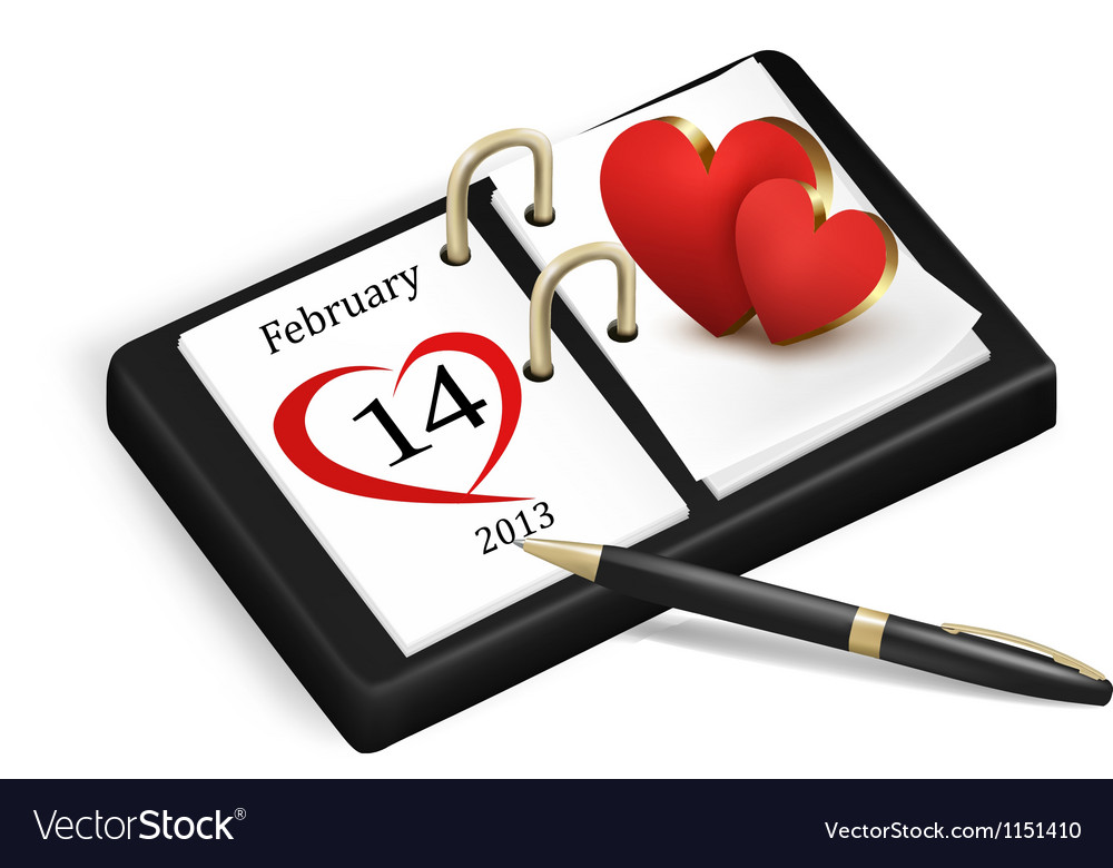 Valentines day in calendar vector | Price: 1 Credit (USD $1)