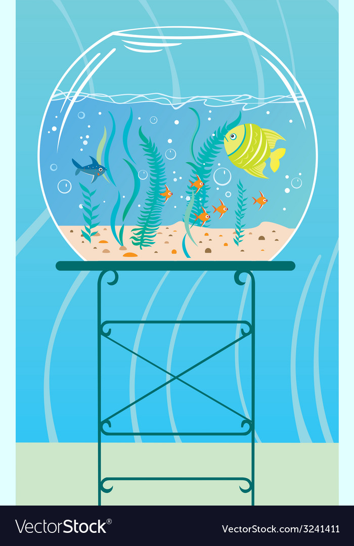 Aquarium with small fishes vector | Price: 1 Credit (USD $1)