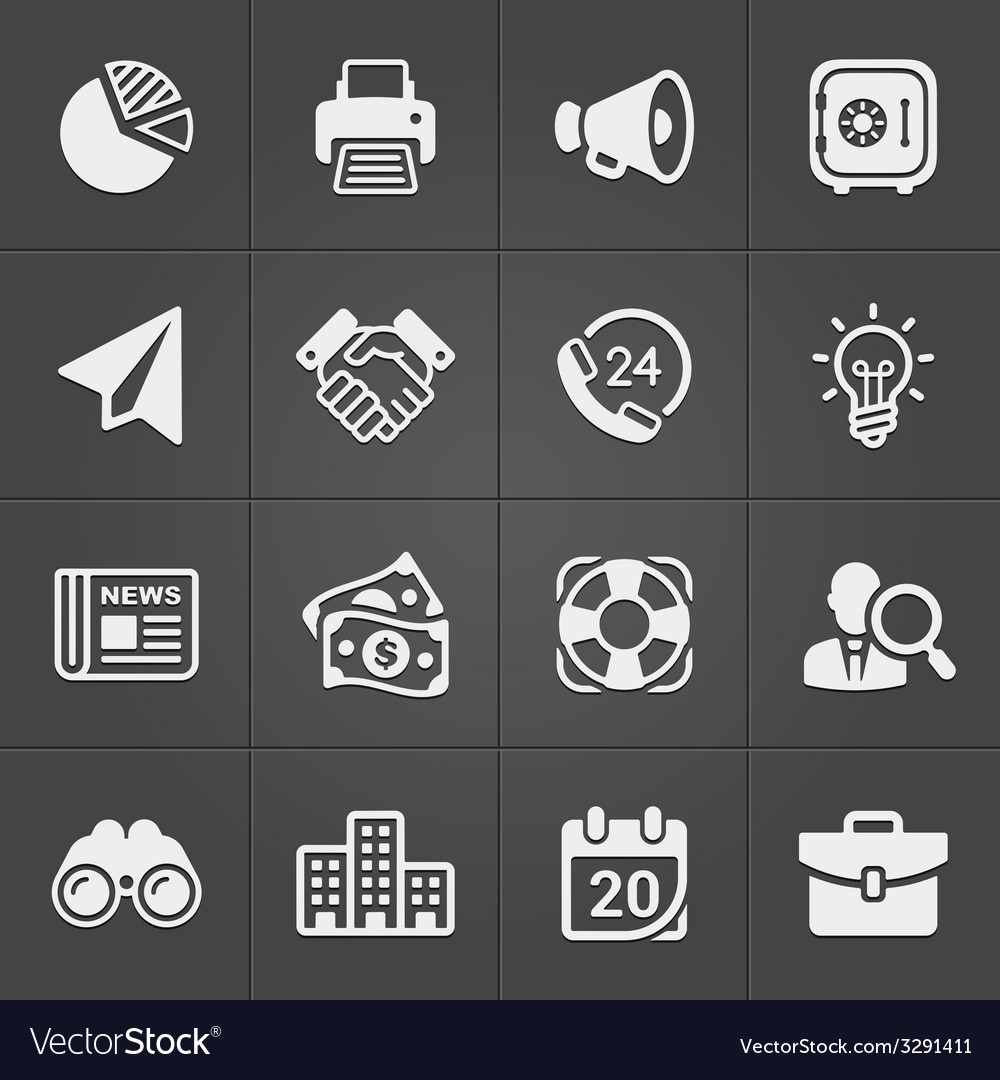Business and finance icons on black set 1 vector | Price: 1 Credit (USD $1)