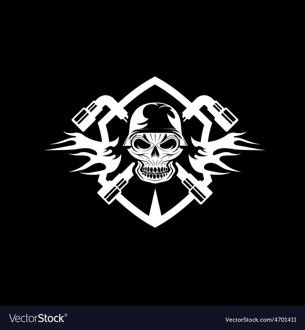 Crest with skull in helmet and spanners vector | Price: 1 Credit (USD $1)