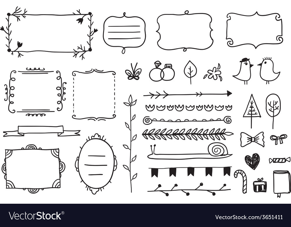 Floral decor set of hand drawn doodle frames vector | Price: 1 Credit (USD $1)