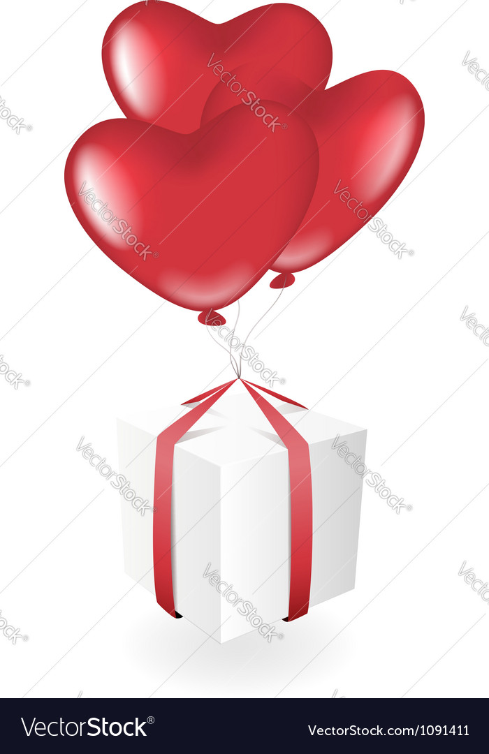 Gift box with heart balloons vector | Price: 1 Credit (USD $1)