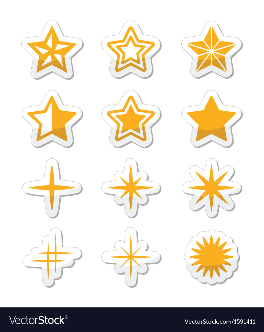 Gold stars icons set vector   Price: 1 Credit (USD $1)