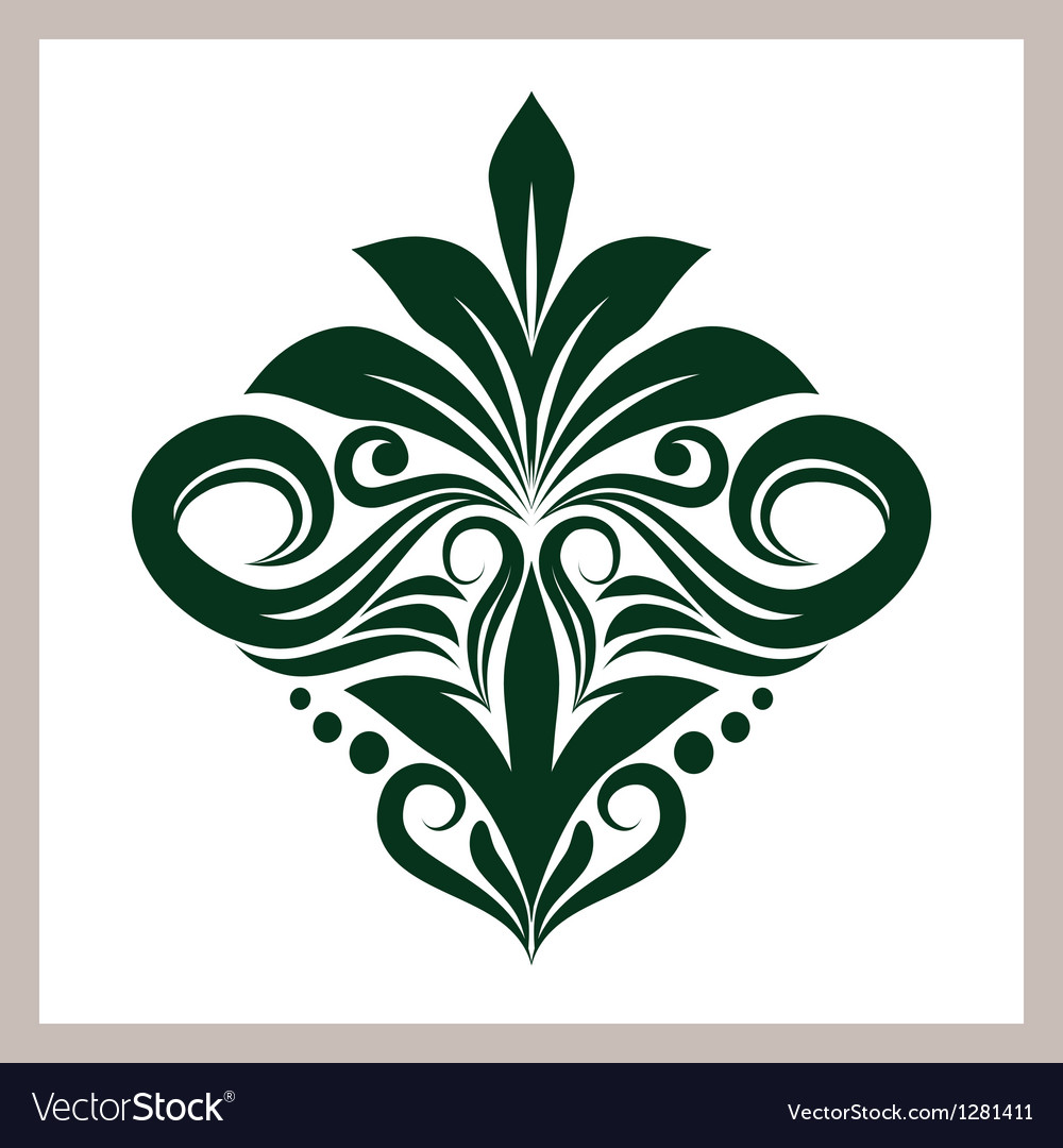 Green floral ornament vector | Price: 1 Credit (USD $1)
