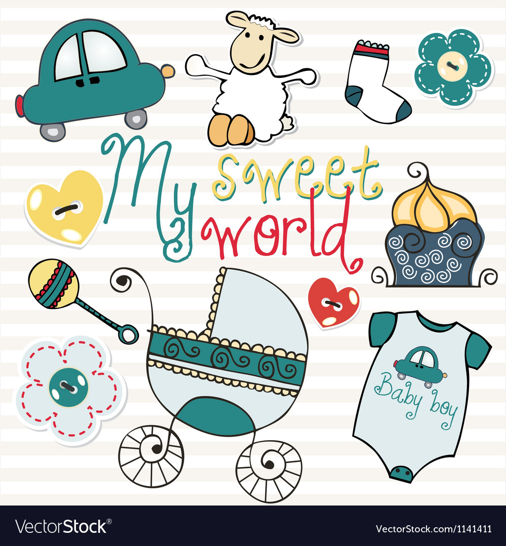Lovely elements for baby boy vector | Price: 1 Credit (USD $1)