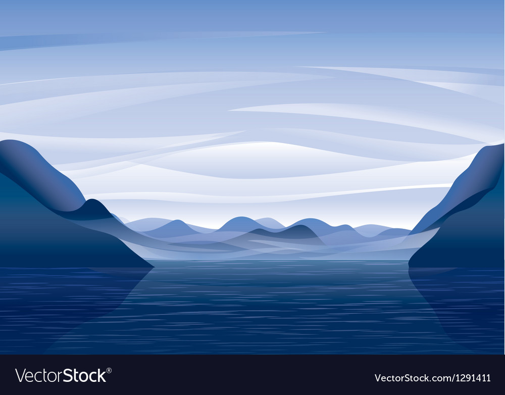 Mountain lake landscape vector | Price: 1 Credit (USD $1)
