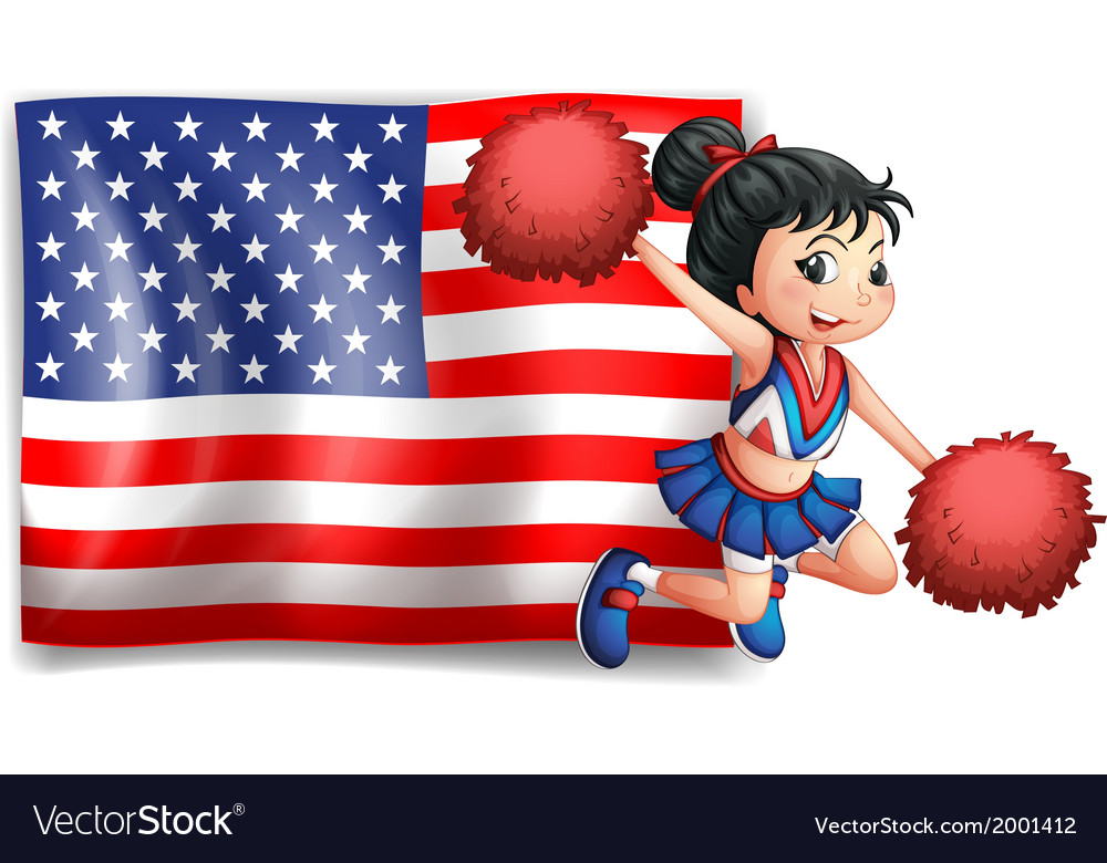 A cheerer and the usa flag vector | Price: 3 Credit (USD $3)