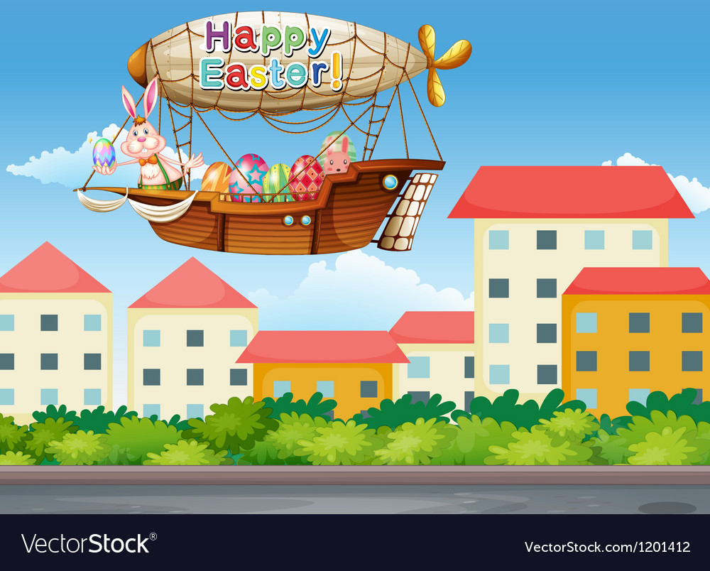 A happy easter greetings with a bunny in the vector | Price: 1 Credit (USD $1)