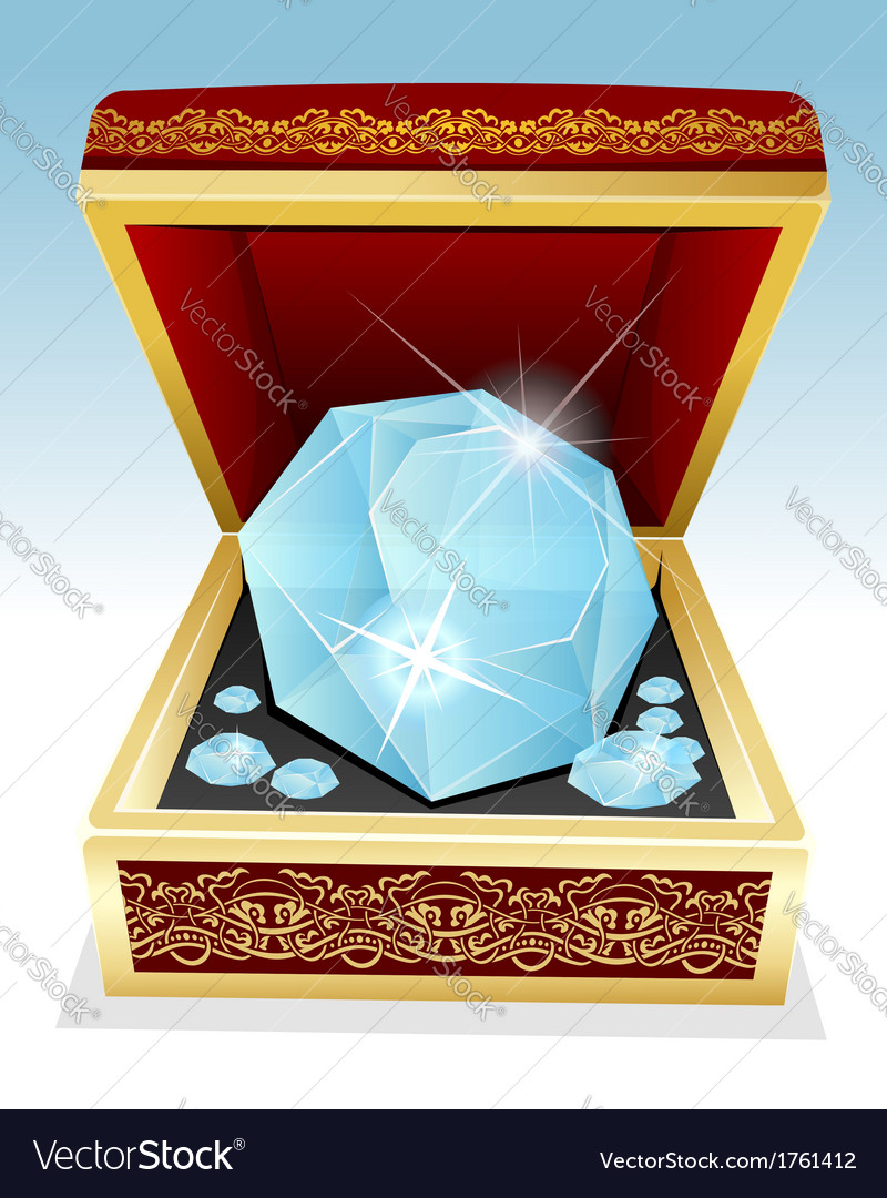 Big brilliant diamond in gift box vector | Price: 1 Credit (USD $1)
