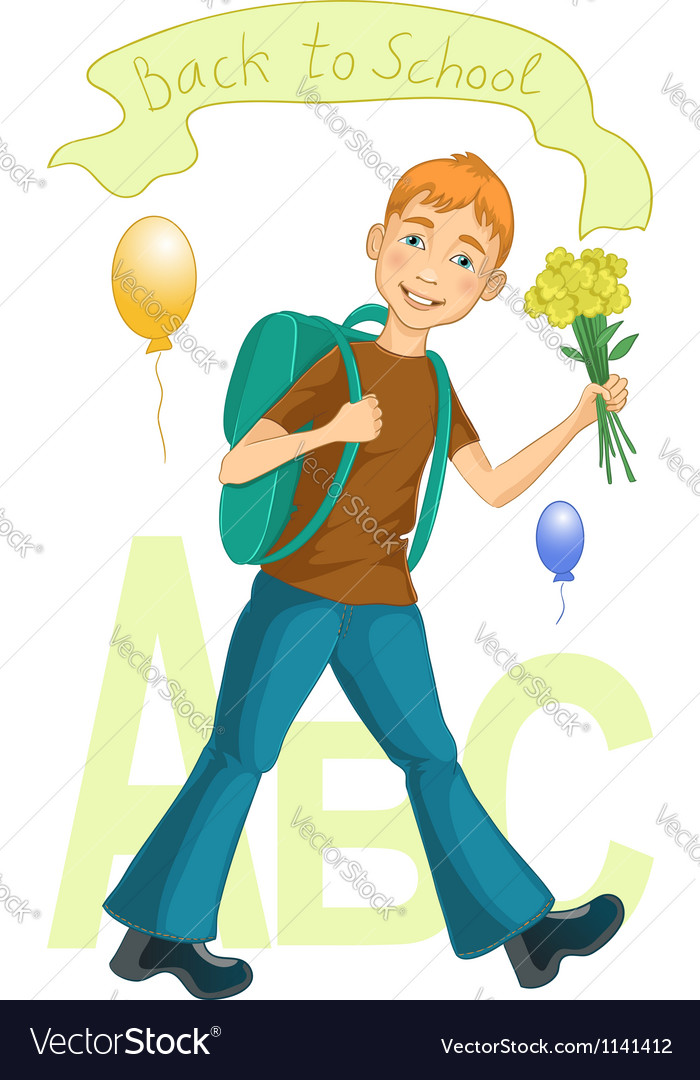 Boy on his way to school vector | Price: 1 Credit (USD $1)