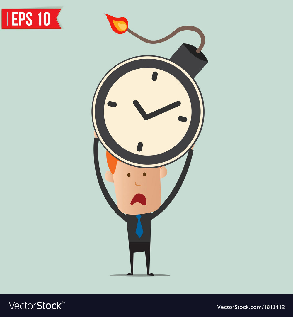 Businessman hold time bomb vector | Price: 1 Credit (USD $1)