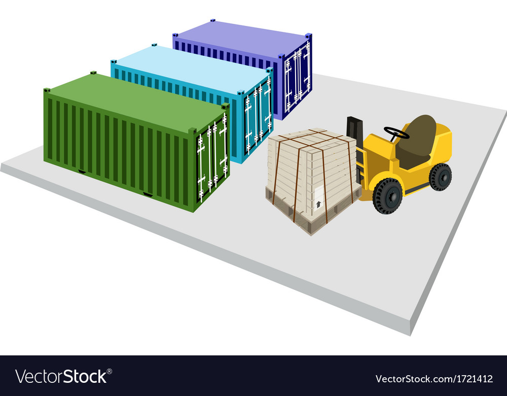 Forklift truck loading shipping box into container vector | Price: 1 Credit (USD $1)