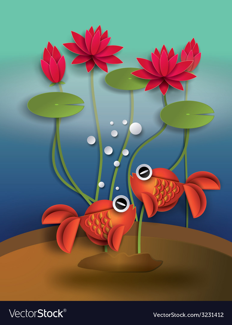 Goldfish with lotus vector | Price: 1 Credit (USD $1)
