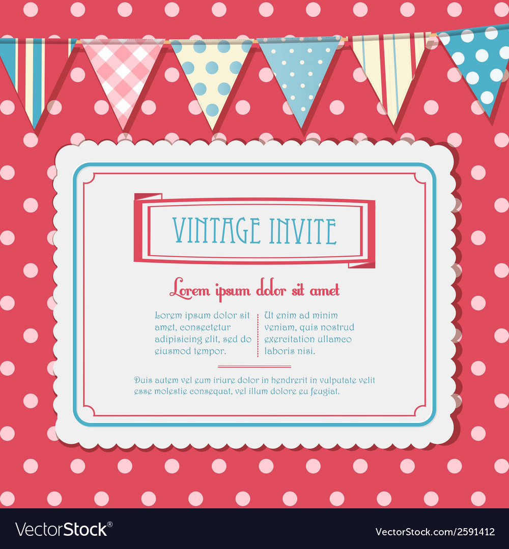 Invite and bunting background landscape vector | Price: 1 Credit (USD $1)