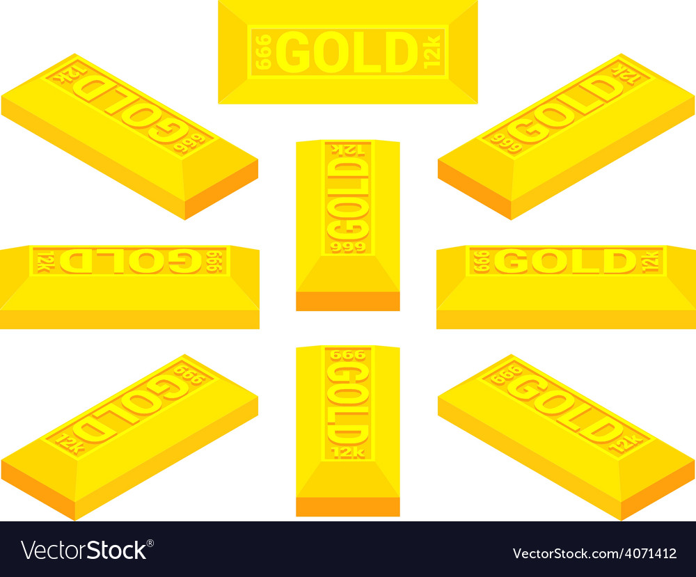 Isometric golden bar vector | Price: 1 Credit (USD $1)
