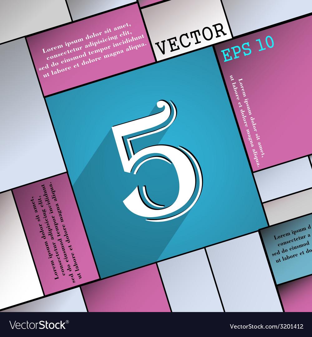 Number five icon symbol flat modern web design vector | Price: 1 Credit (USD $1)