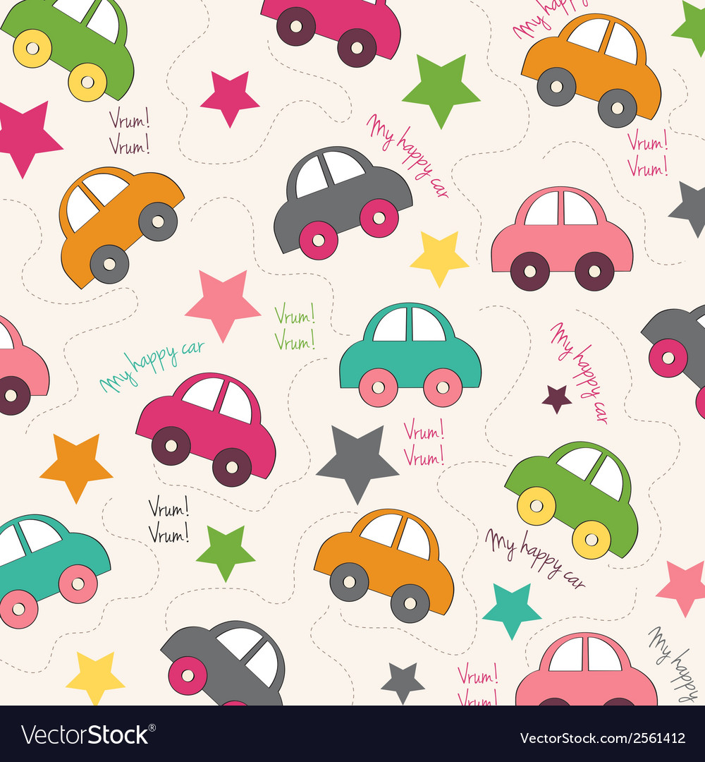 Seamless background with cars vector | Price: 1 Credit (USD $1)
