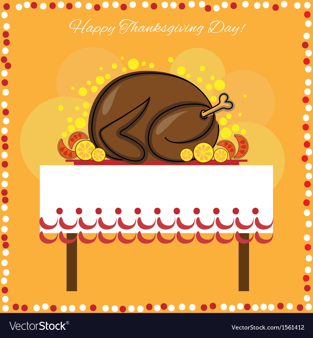 Thanksgiving day card with traditional turkey vector | Price: 1 Credit (USD $1)