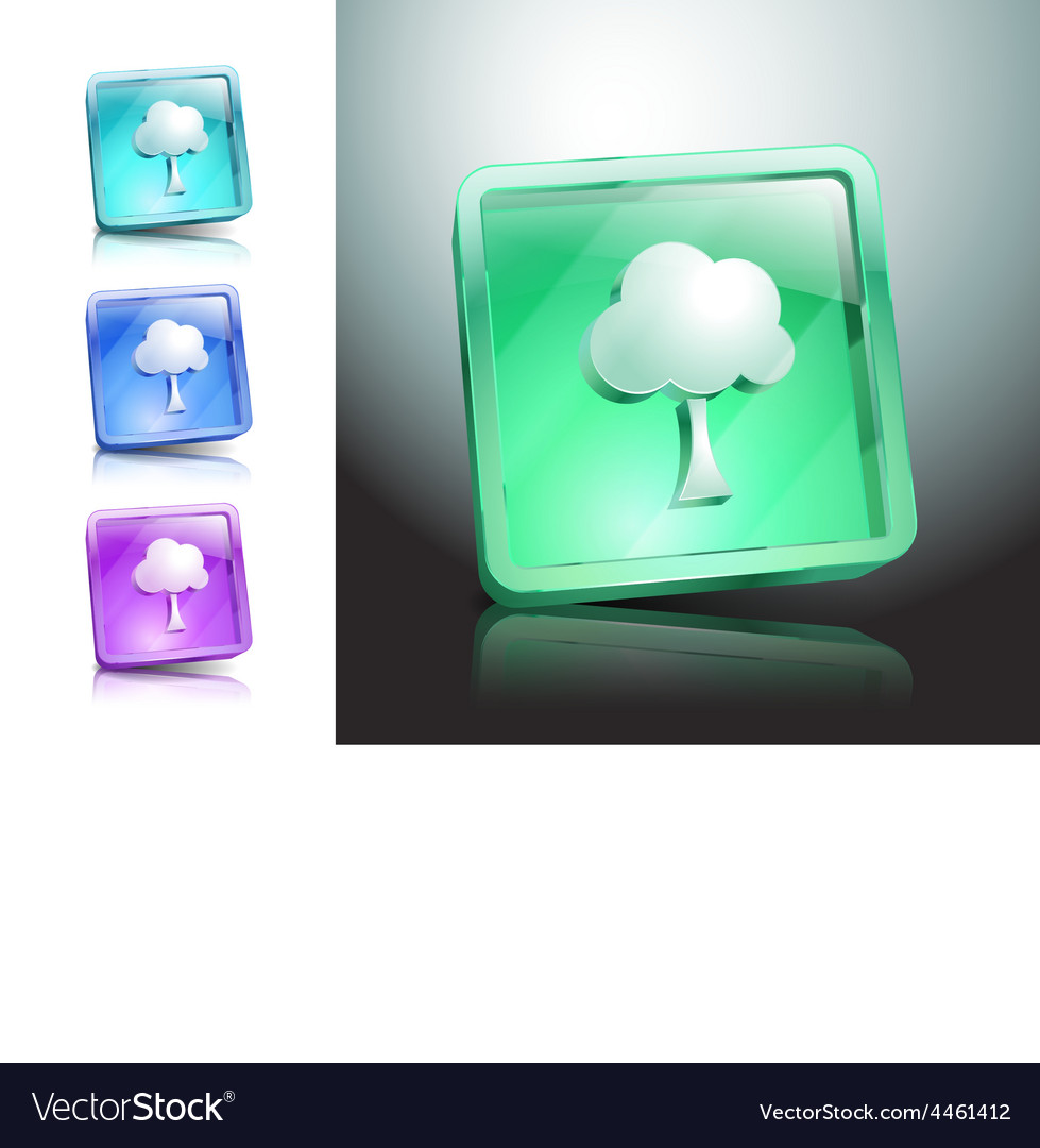 Tree glass icons set color nature vector | Price: 1 Credit (USD $1)