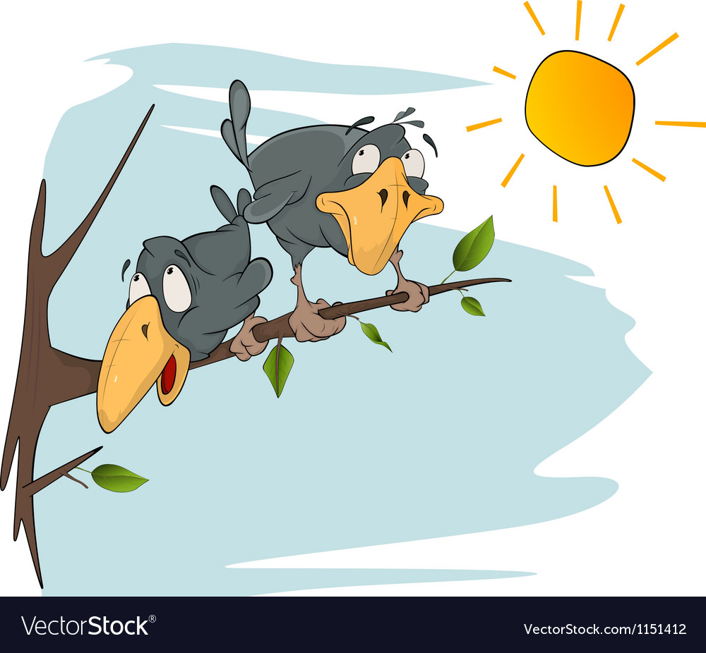 Two cheerful ravens vector | Price: 1 Credit (USD $1)