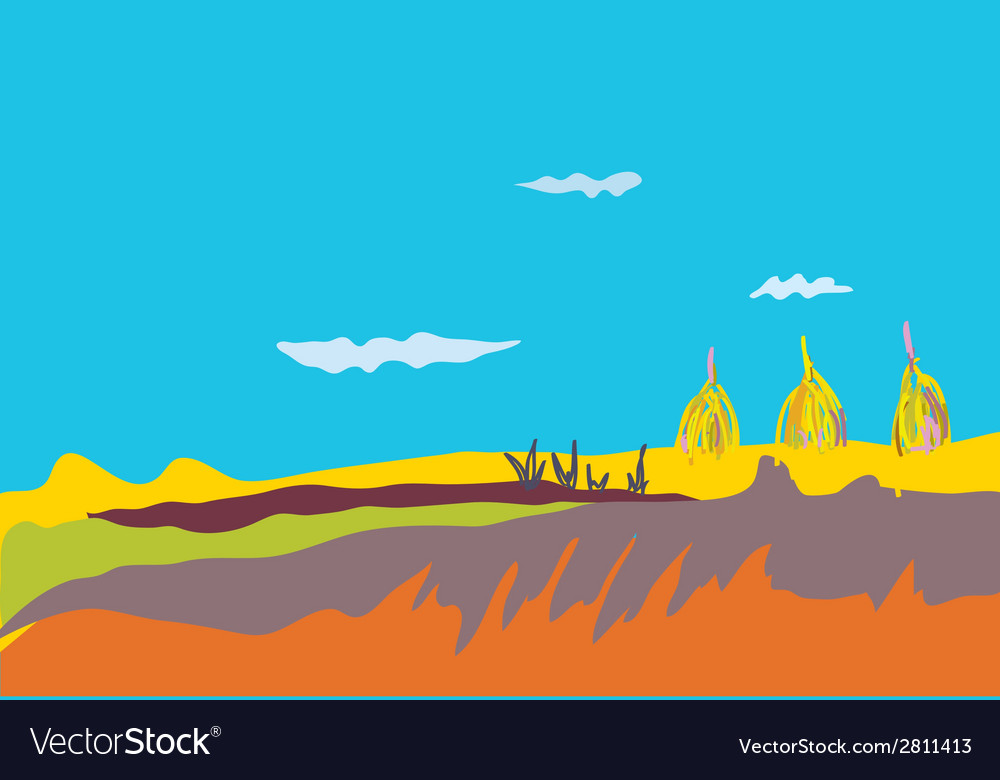 Autumn banner with fields sky vector | Price: 1 Credit (USD $1)