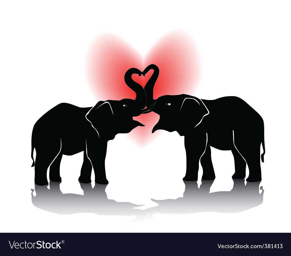 Black silhouette of kissing elephants vector | Price: 1 Credit (USD $1)