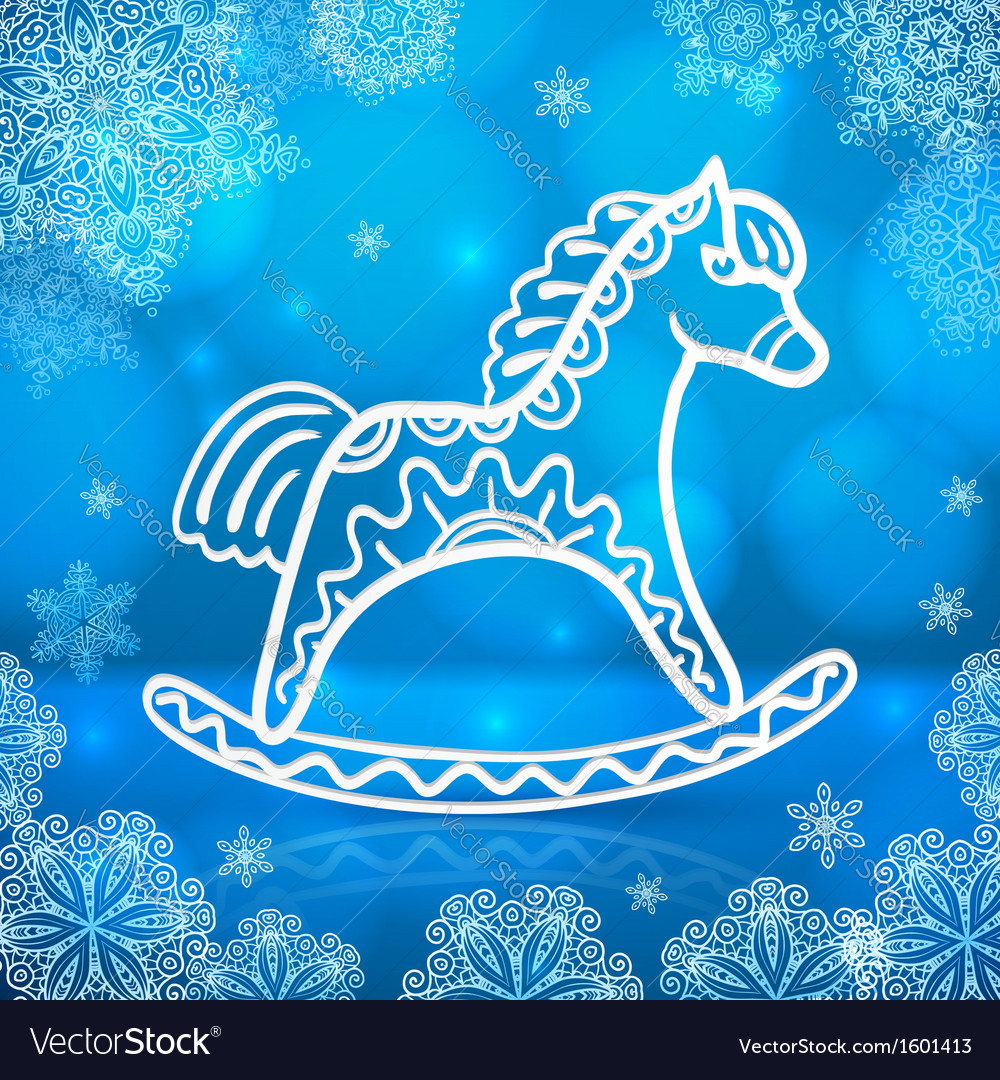 Blue new year card with white paper horse vector | Price: 1 Credit (USD $1)