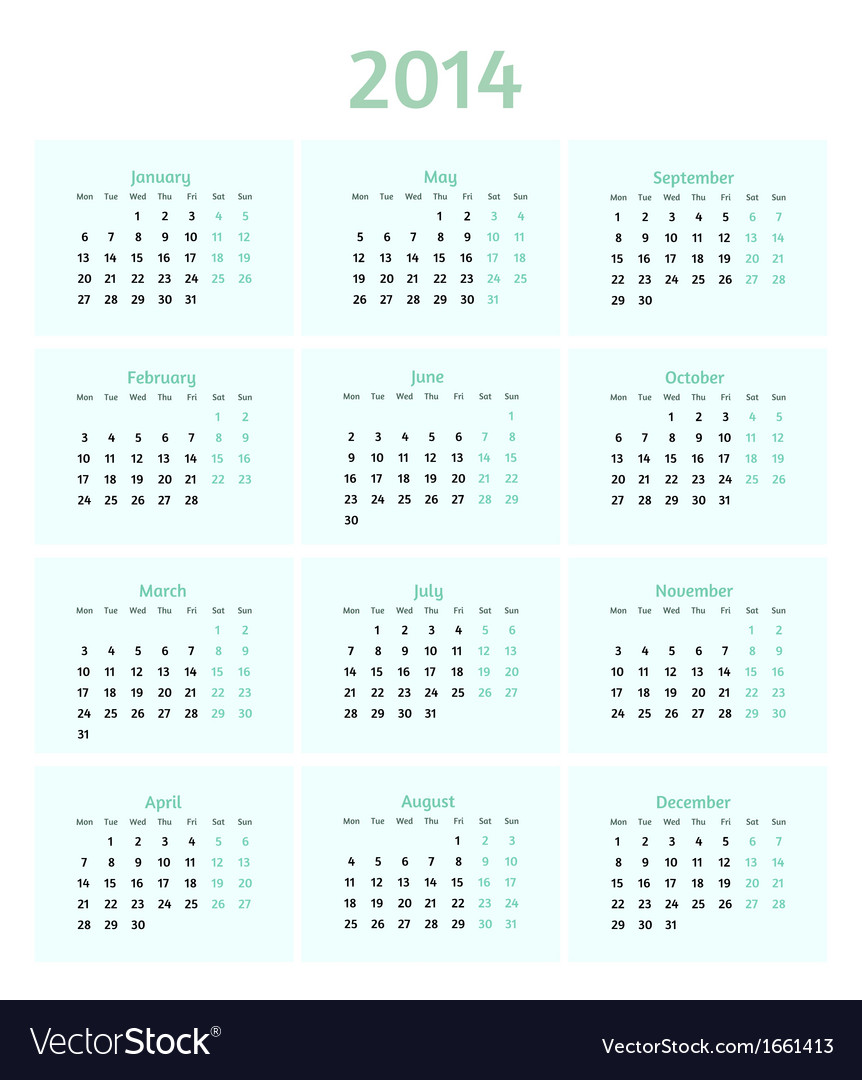 Flat style 2014 year calendar vector | Price: 1 Credit (USD $1)