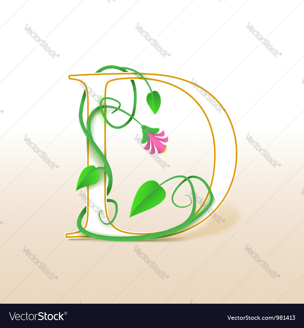 Letter d with an vintage floral pattern vector | Price: 1 Credit (USD $1)
