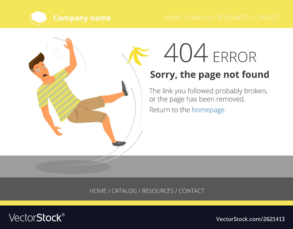 Man slipped on a banana page not found error 404 vector   Price: 1 Credit (USD $1)