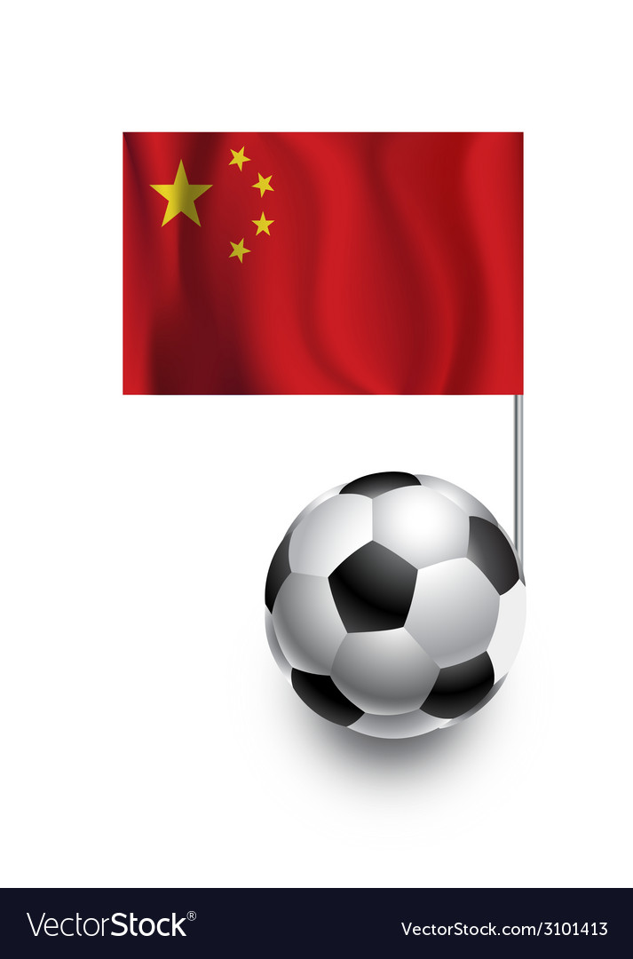 Soccer balls or footballs with flag of china vector | Price: 1 Credit (USD $1)