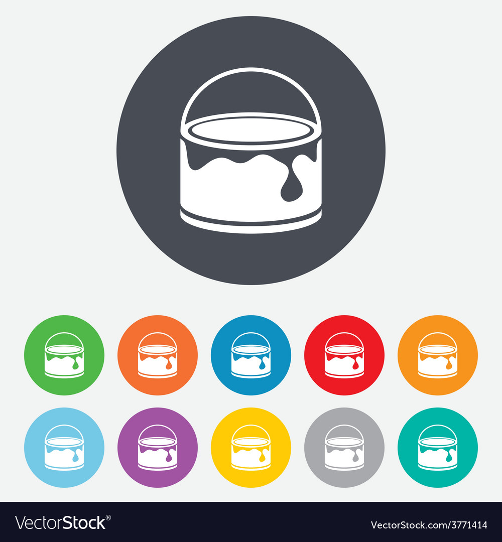 Bucket of paint icon painting works sign vector | Price: 1 Credit (USD $1)