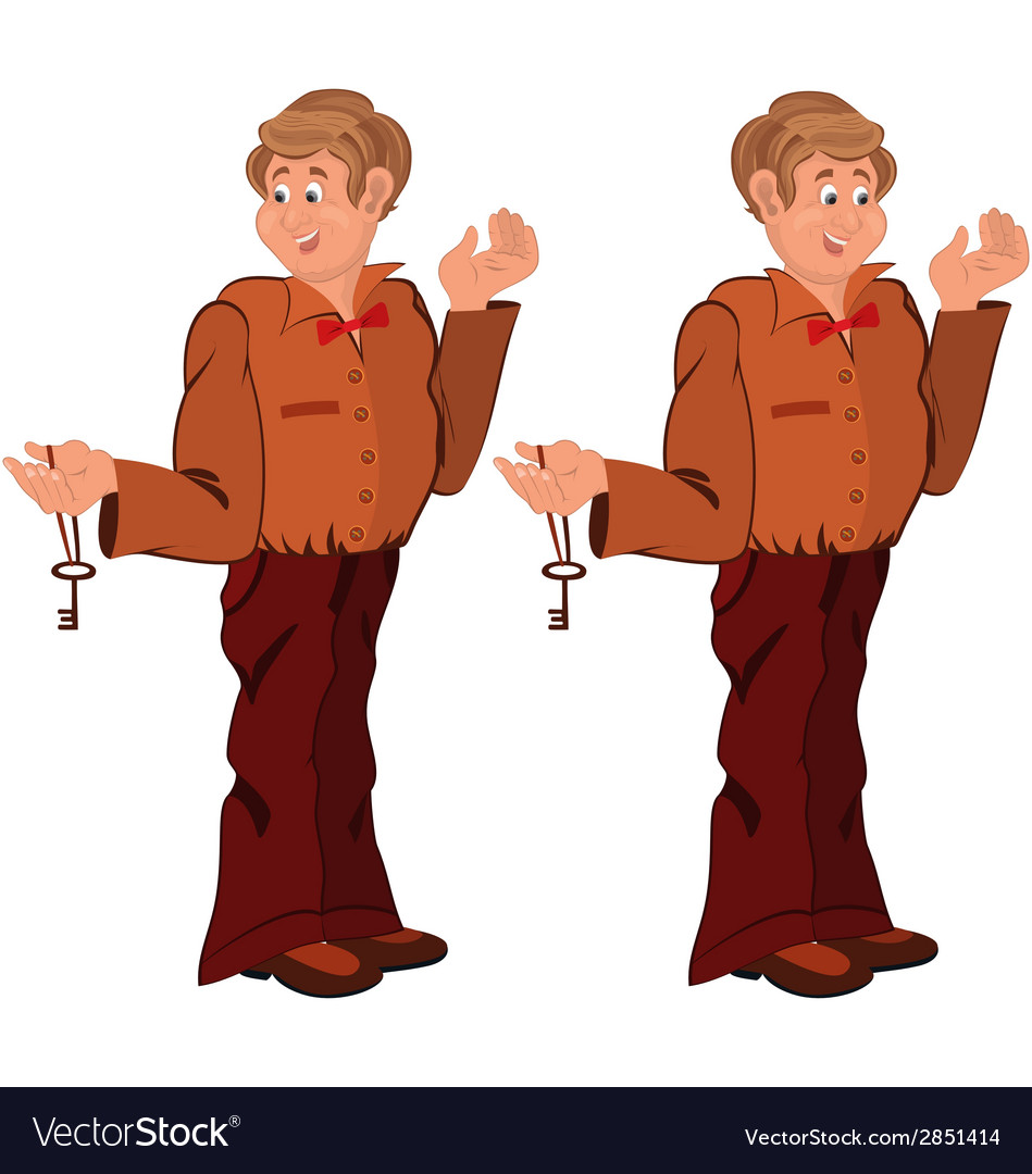 Happy cartoon man standing in brown uniform with vector | Price: 1 Credit (USD $1)