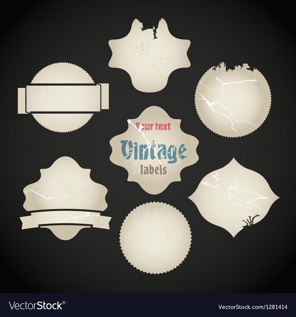 Scratched vintage labels set vector | Price: 1 Credit (USD $1)