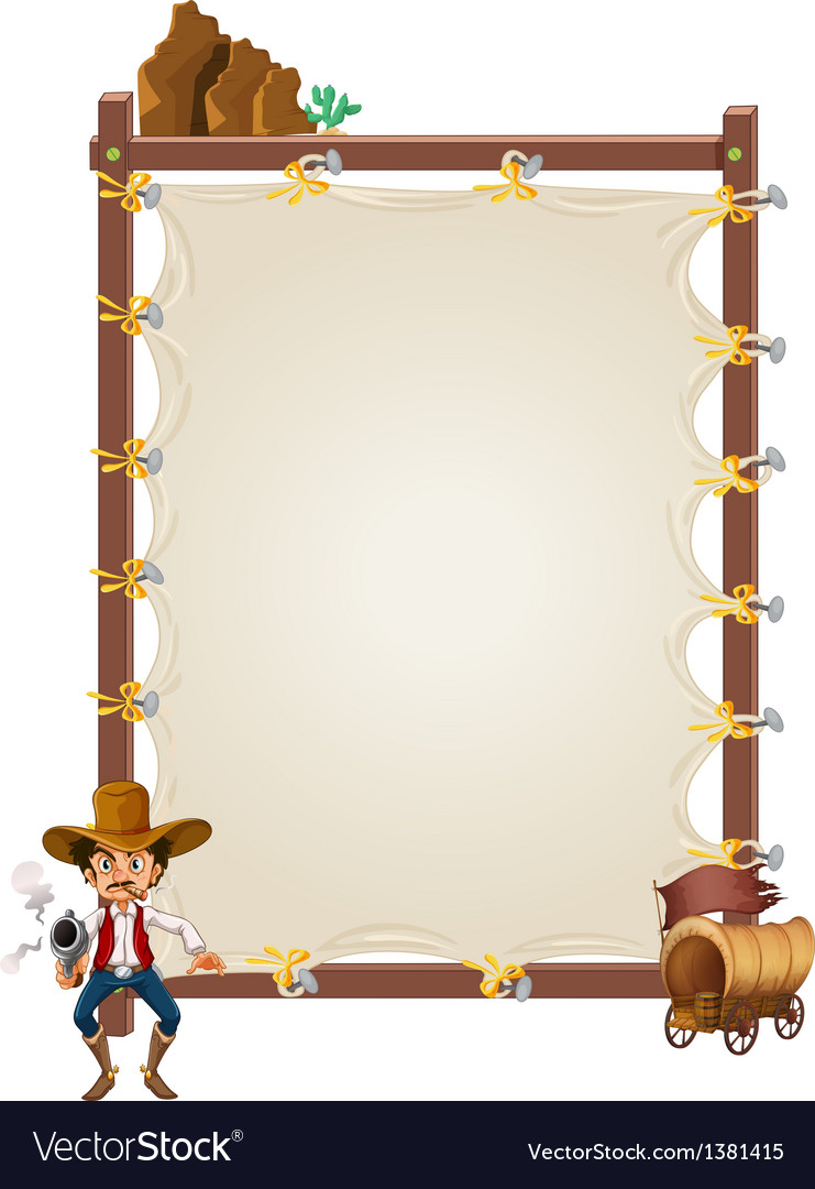An empty framed banner with a cowboy and a wagon vector | Price: 1 Credit (USD $1)