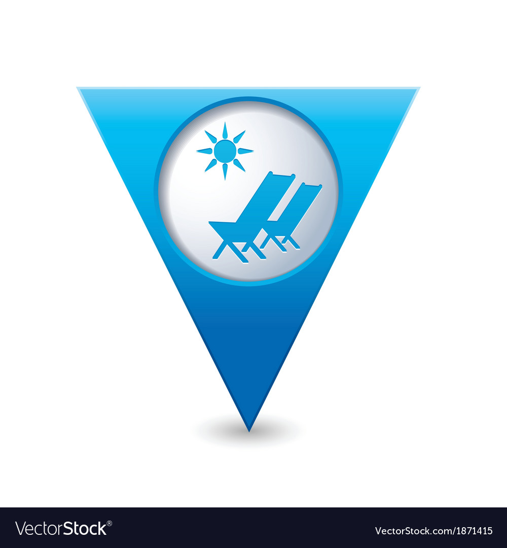 Baech chair symbol map pointer blue vector | Price: 1 Credit (USD $1)