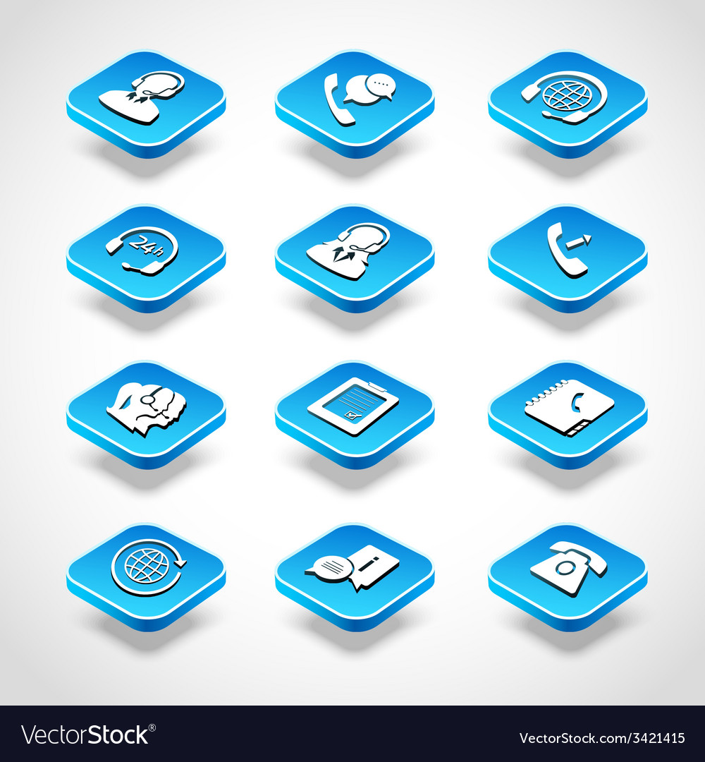 Call center isometric icons vector | Price: 1 Credit (USD $1)