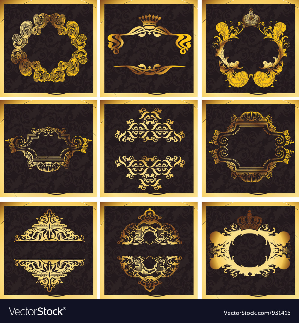 Decorative golden ornate quad frames vector | Price: 1 Credit (USD $1)