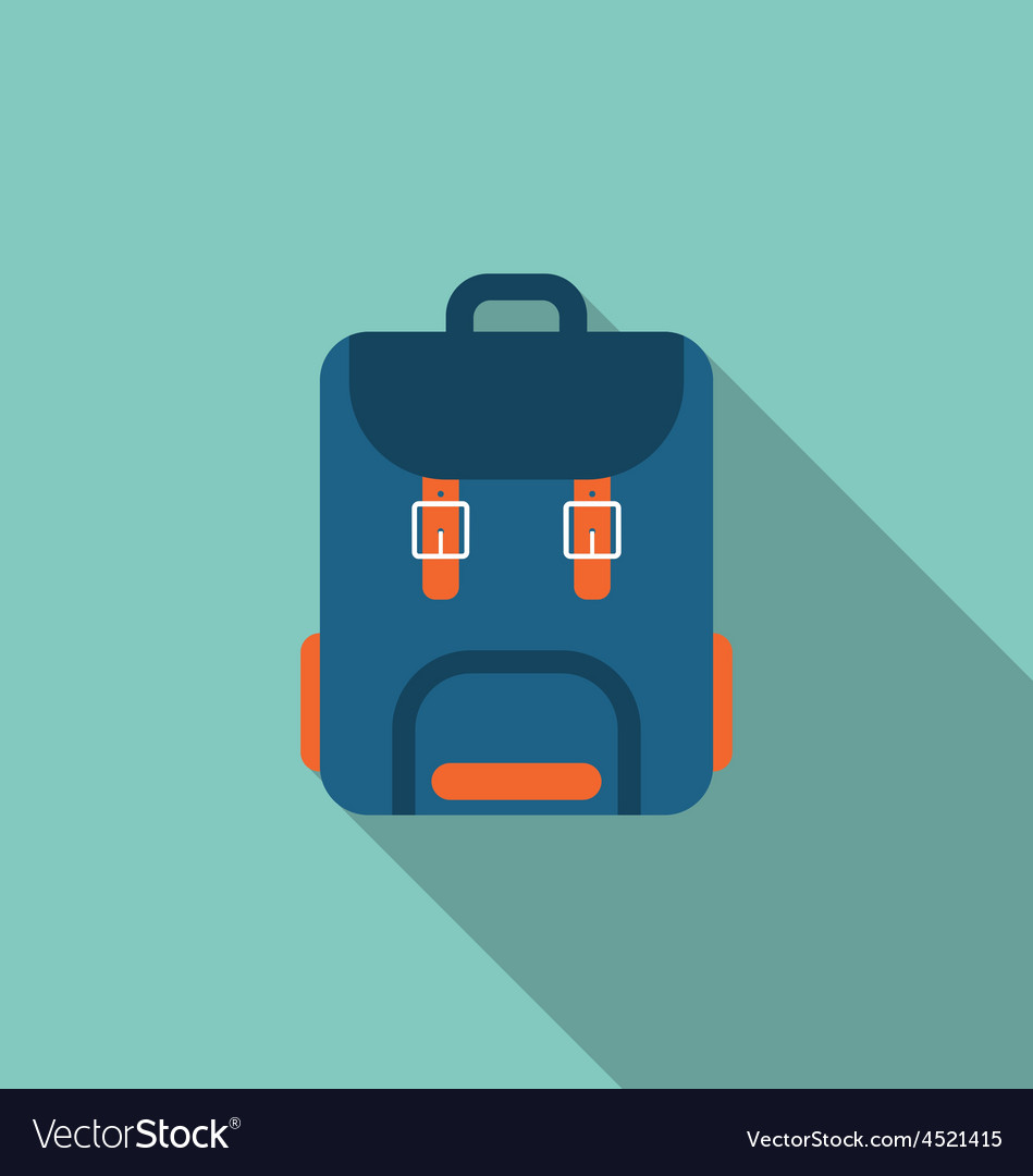 Flat icon of backpack with long shadow on blue vector | Price: 1 Credit (USD $1)