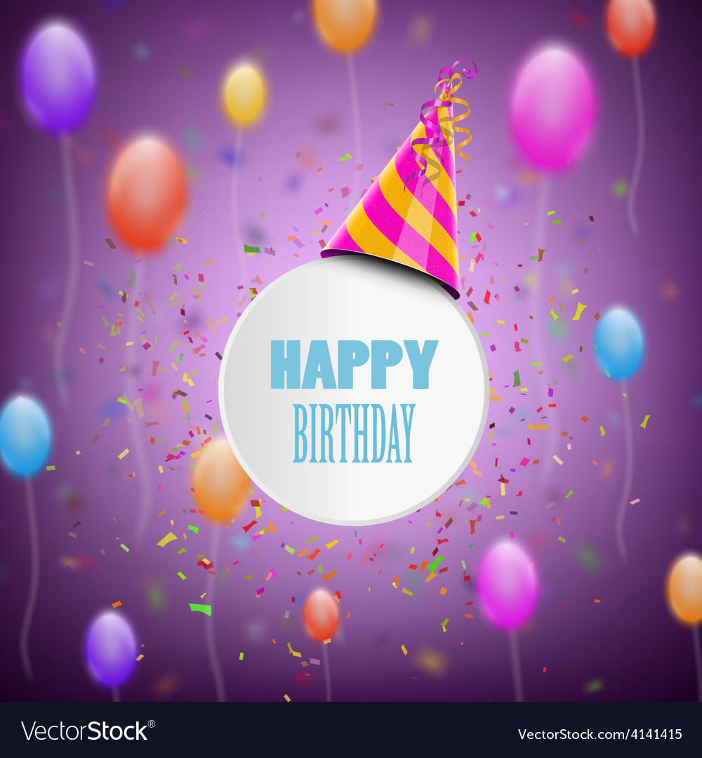Happy birthday composition with blur background vector | Price: 1 Credit (USD $1)