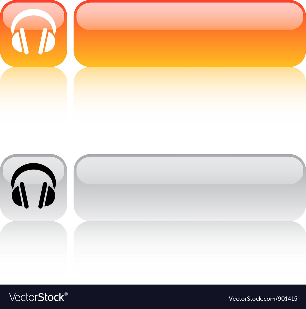 Headphones square button vector | Price: 1 Credit (USD $1)