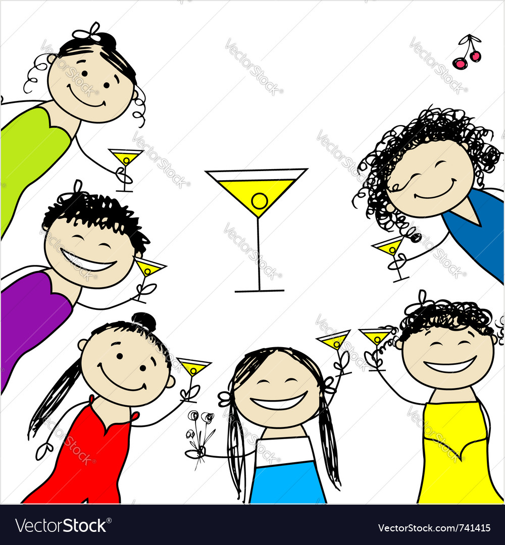 Hen party funny friends vector | Price: 1 Credit (USD $1)