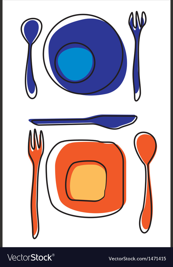 Icons of plates and cutlery table setting vector | Price: 1 Credit (USD $1)
