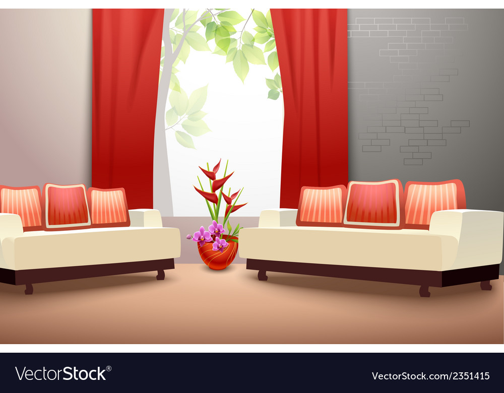 Interior design living room vector | Price: 1 Credit (USD $1)