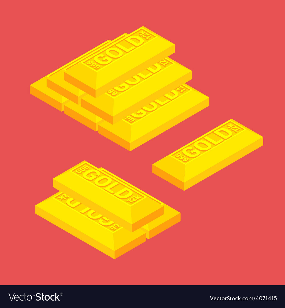 Isometric golden bars vector | Price: 1 Credit (USD $1)