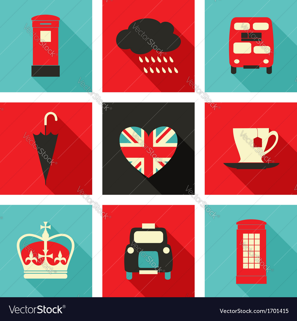 Long shadow london icons set vector