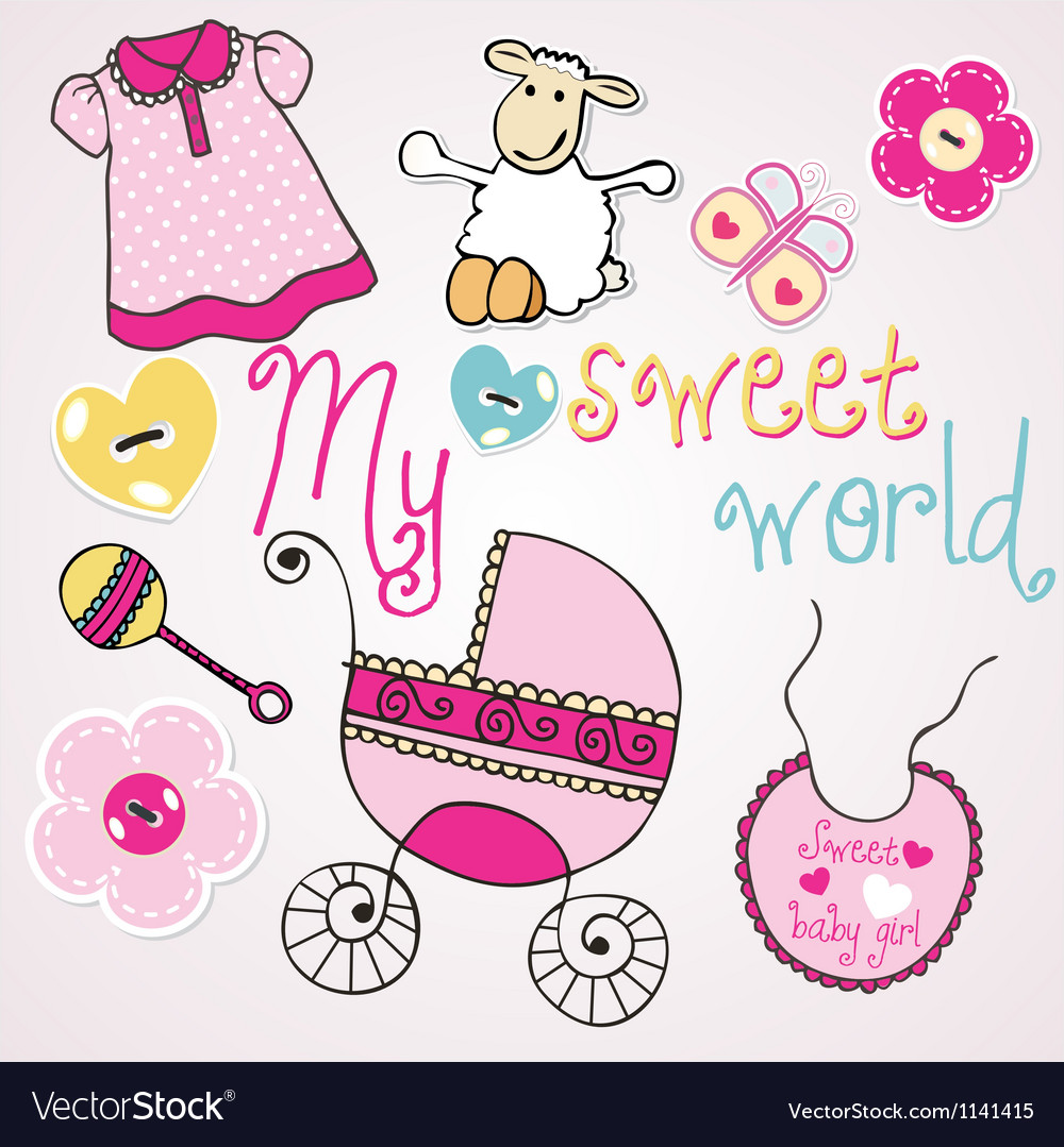 Lovely elements for baby girl vector | Price: 1 Credit (USD $1)