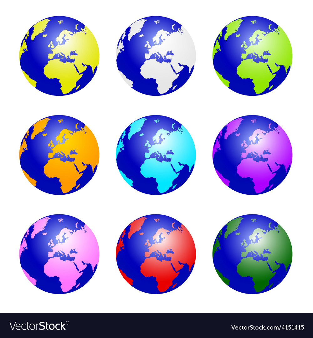 Planet earth set color vector | Price: 1 Credit (USD $1)