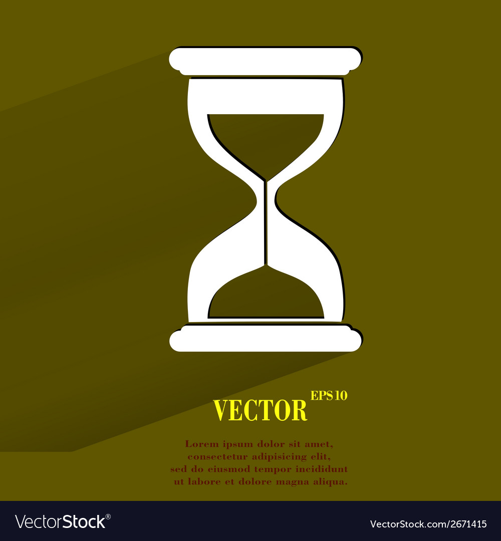 Sand clock glass timer  flat modern web button vector | Price: 1 Credit (USD $1)