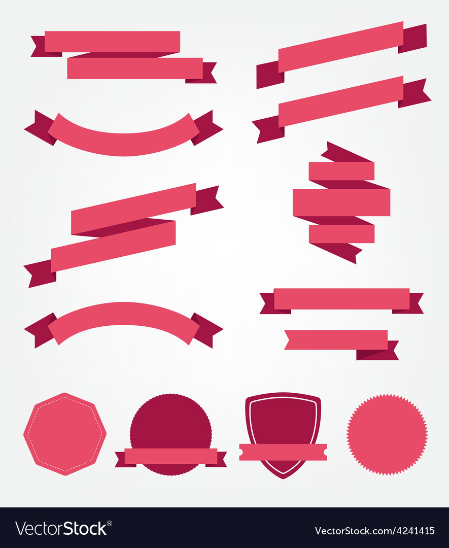 Set of empty retro ribbons vector | Price: 1 Credit (USD $1)